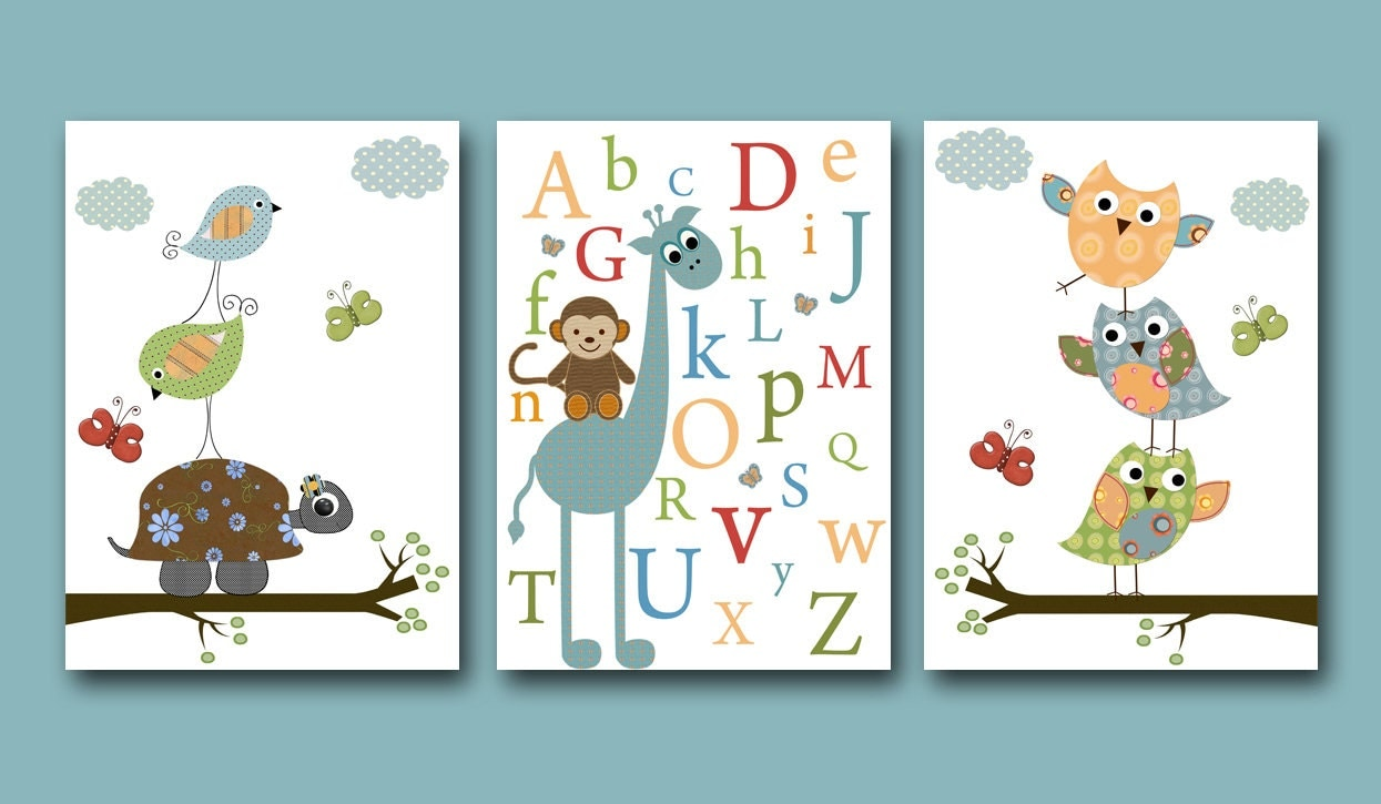 Baby Boy Nursery Art Print Baby Boy Room Owls By Artbynataera