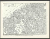 Vintage Map Cleveland Ohio From 1937 Original