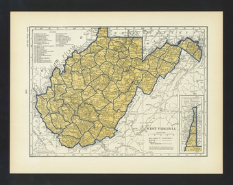 Vintage Map West Virginia Original 1938