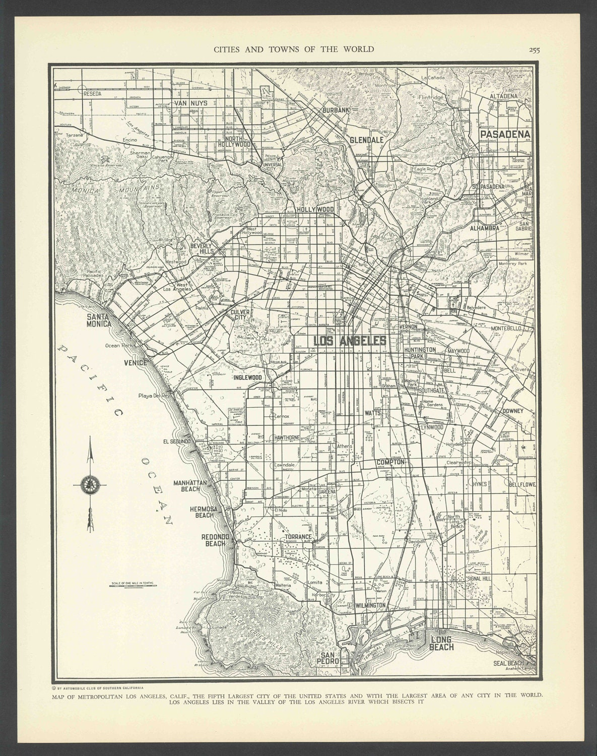 Vintage Street Map Los Angeles California From  Original - Los angeles map vintage