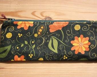 Green, Yellow & Orange Pencil Case- Orange Lining, Green Zip