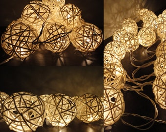 20 Natural White Color Handmade Rattan Balls Fairy String Lights Party Patio Wedding Floor Table or Hanging Gift Home Decoration