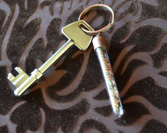 Steampunk Keyring - 'Scientifica 1' - glass and brass beads, wound copper wire