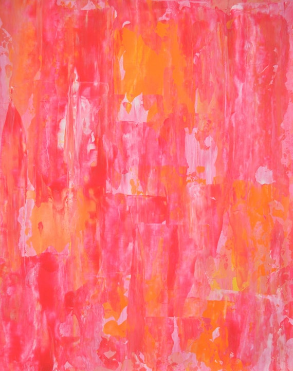 Acrylic Abstract Art Painting Orange, Pink and White - Modern, Contemporary, Original 11 x 14
