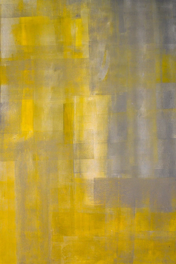 Large Acrylic Abstract Art Painting Yellow Black White and Yellow Black Abstract Paintings