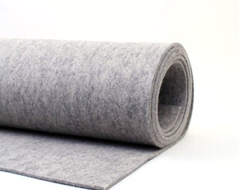 "Thick Wool Felt - 3mm - 18"" X 18"" - 100% Wool Felt - Heather Gray"