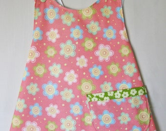 Summer Coral floral toddler girl pinafore size 18 months
