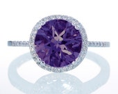 14K White Gold Round Amethyst Diamond Halo Engagement Promise Right Hand Purple Ring