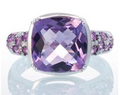 14 Karat White Gold Cushion Cut Checkerboard Amethyst Pink White Sapphire Right Hand Solitaire Unique Ring