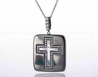 18 Karat White Gold Black Rhodium Diamond Cross Dog Tag Pendant Necklace