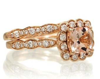 18K Rose Gold 6mm Cushion Cut Diamond Halo Vintage Style Design Engagement Stackable Bridal Gemstone Anniversary Ring