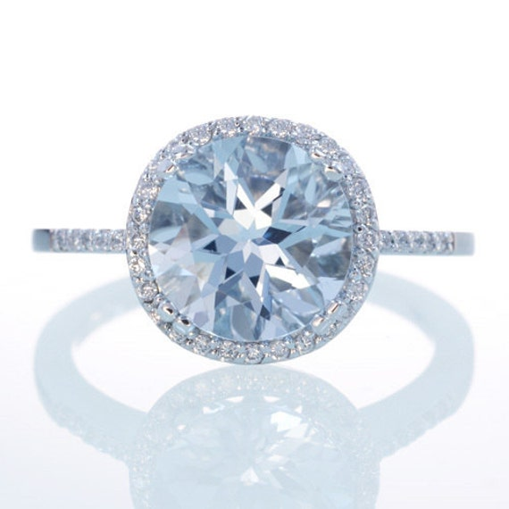 Sterling Silver Aquamarine Diamond Halo Engagement Ring