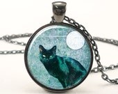 Black Cat Necklace, Halloween Cat With Full Moon Pendant, Blue Goth Jewelry (0873G1IN)
