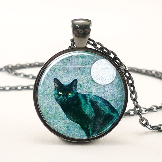 Black Cat Necklace, Halloween Cat With Full Moon Pendant, Nu Goth Jewelry (0873G1IN)