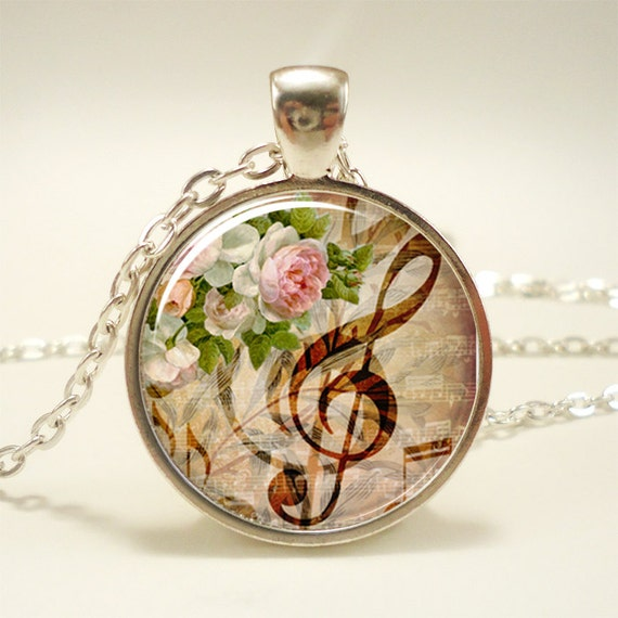 G-Clef Necklace, Music Note Jewelry (1056S1IN)