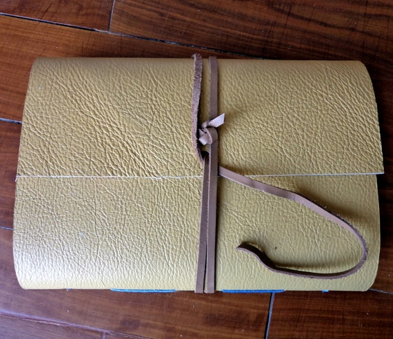 Leather bound Journal in yellow.  Travel / postal vintage theme. Memory pockets