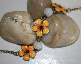 Flower Bracelet - Orange Yellow Flower Pendant Bracelet - Flower Children - Gift for Her