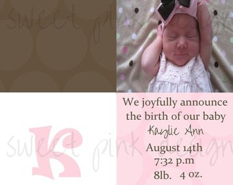 Dots Girls Birth Announcement