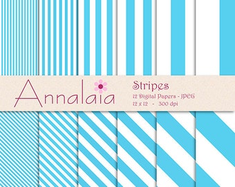 INSTANT DOWNLOAD Digital Paper Pack: Baby Blue and White Vertical Diagonal Stripes Lines 12x12 8,5x11 Scrapbook Paper Commercial Use 267