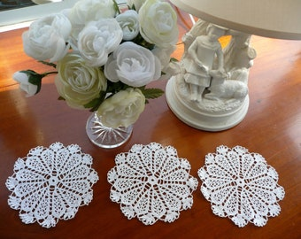 Vintage Coasters - Crocheted Lace Coasters - Set of 3 - Hand Made Doily - White Lace Doily - Formal Entertqining - Scrapbooking Lace Doilies