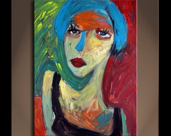 Oil Painting  Original Art Modern Impressionist Portrait Texture ACTRESS 5