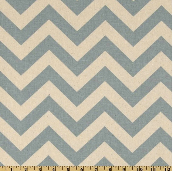 Clearance: Custom Made-to-Order Vintage Blue/Natural Chevron Valances