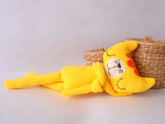 Safe Baby Toys : Stuffed animal handmadeyellow cat soft safe baby toy for