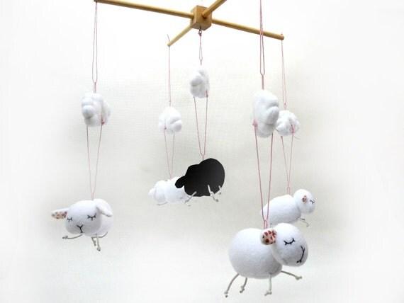 Baby crib mobile baby mobile sheep mobile crib by baraqada - Designer babymobel ...
