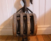 Antique Boston & Lockport Block Co.  Block and Tackle Barn Pulley - BALLER