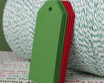 Red & Green Christmas Tags / Gift Tags / Gift Labels / Thank You Tags (24)