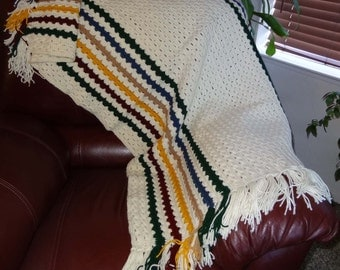 Hand Crocheted Afghan White With Stripes of Green, Blue, Gold, Beige, Dark Red