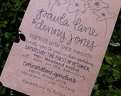 Kraft Paper Wedding Invitation Custom Calligraphy