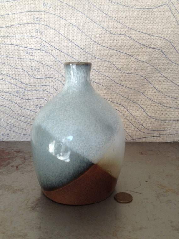 Vintage Pottery Craft Vase Made In Usa Blue Brown And Cream
