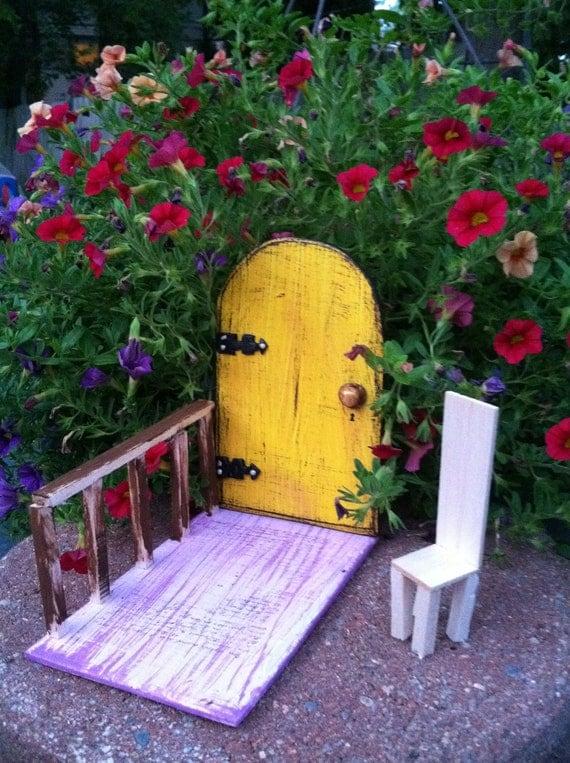 Gifts for her, Birthday, Fairy Garden, Fairies, Fairy House, Imaginative Play, Tree, Wall, Housewarming, Door, Distressed, Yellow,Room Decor