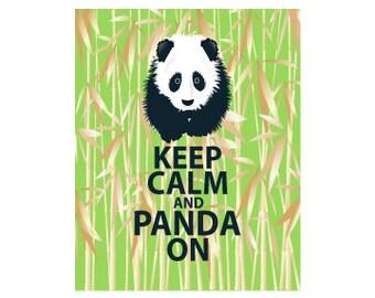 Keep Calm and Panda On Print Panda Art Panda Wall Art Decor Panda Illustration Keep Calm and Carry On Green Bamboo Panda Bear Print Panda Po