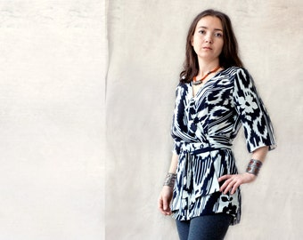wrap blouse, ikat tunic, silk ikat, tribal ethnic, uzbek, black and white, draped, assymetrical, folds, wrap top or shirt, made to order
