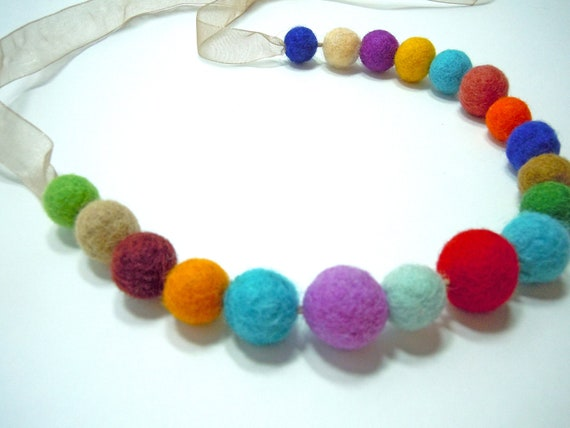 Multi-colored felt ball necklace
