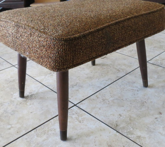 Original Vintage ottoman foot stool perfect for a mid century style decor Brown Wooden Stool Ottoman 1960s