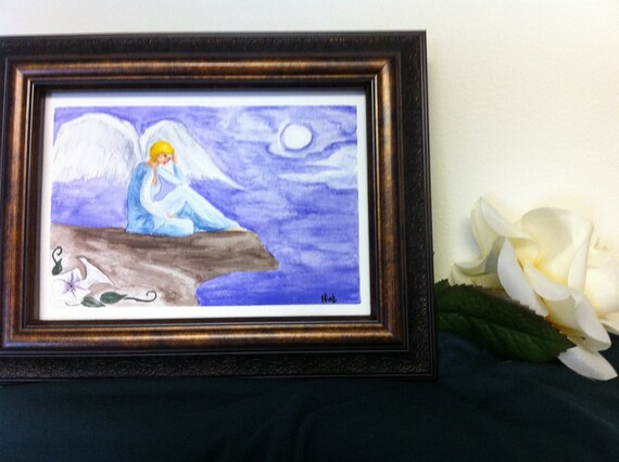 "Original handpainted watercolor card ""moonlight angel"" 5x7"