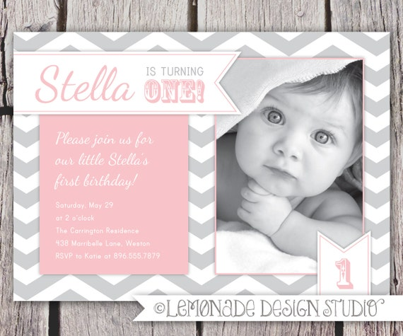 First Birthday Invitation Chevrons - Chevron Photo Printable Invite - Grey and Pink - Grey and Yellow  or Aqua- 1 Year Old or ANY Age