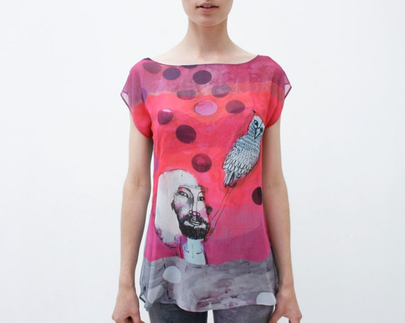Boy with owl- neon pink and  gray chiffon top