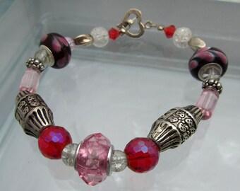 Glass Bead Bracelet Black & Pink Lampwork Bracelet Heart Toggle Bracelet
