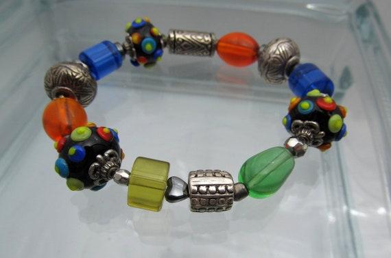 Chunky Beaded Bracelet, Stretch Bracelet, Rainbow Bead Bracelet, Lampwork Bracelet, Large Bracelet, Glass Bead Bracelet, OOAK Jewelry