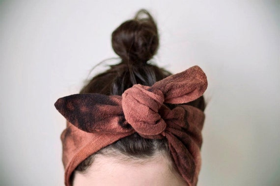 indian cotton fabric, dyed, black and rust headband