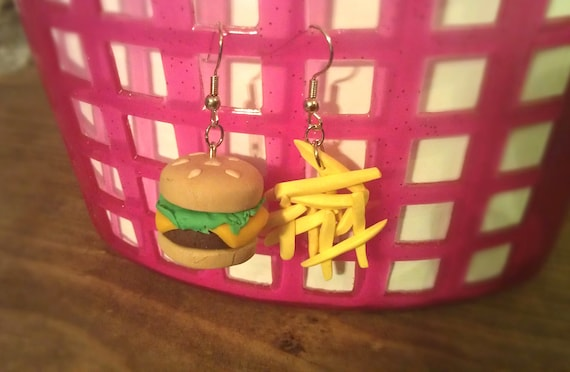 Miniature Fake Food Burger and Fries Polymer Clay Earrings