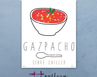 Gazpacho graphic culinary art illustration signed artist's print 12 x 16