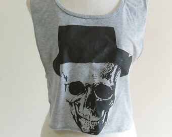 Skull Hat Art Design Skull Tank Top Women T-Shirt Grey T-Shirt Tunic Screen Print Size M