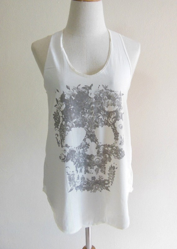 Skull Flowers Zombie Art Style Skull Tank Top Women T-Shirt Cream T-Shirt Tunic Screen Print Size M