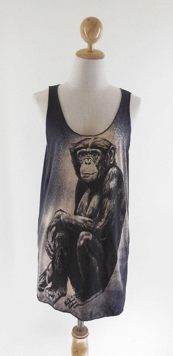 Monkey Animal Design Monkey T-Shirt Black T-Shirt Tank Top Tunic Screen Print Size M