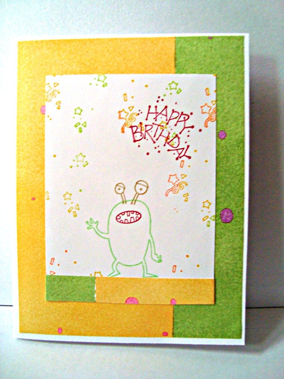 Stampin Up Birthday Cards For Kids ~ Little monster birthday card stampin up handmade by